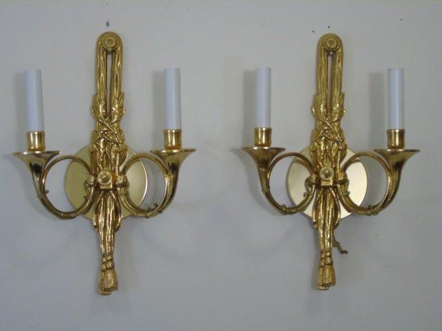 Pair Gilt Ormolu Neo Classical Style Horn Sconces