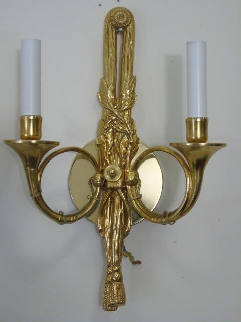 Pair Gilt Ormolu Neo Classical Style Horn Sconces - 2