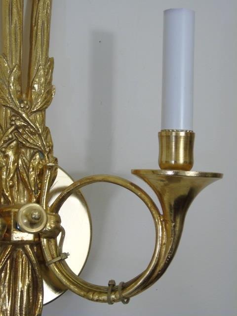 Pair Gilt Ormolu Neo Classical Style Horn Sconces - 5