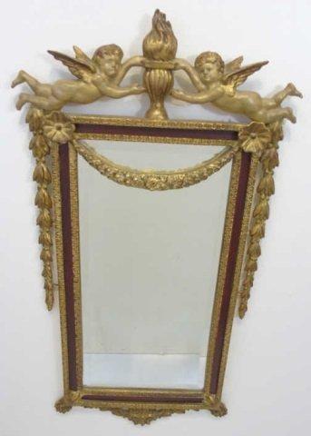 Italian Baroque Style Gilt Mirror w Putti Pediment