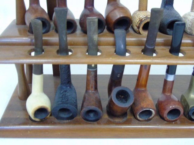 Collection of Vintage Pipes on Wooden Stand - 4