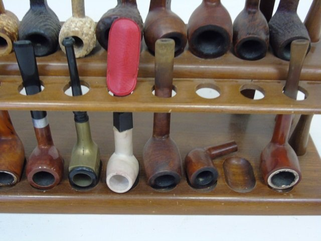 Collection of Vintage Pipes on Wooden Stand - 5