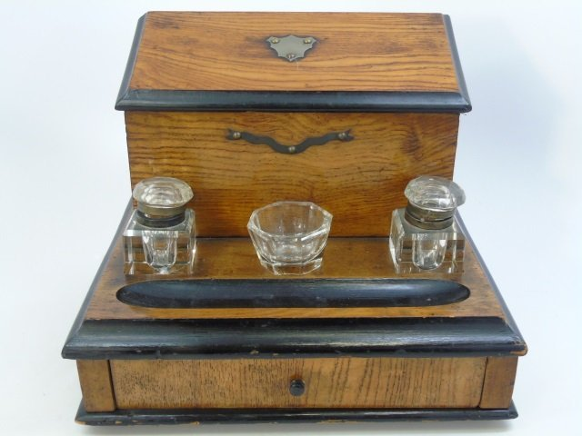 Antique English 19th C Letter Box Onyx Pen Holder - 5