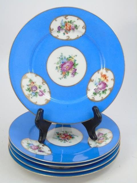 Set of Antique Dresden Germany Hand Painted Plates