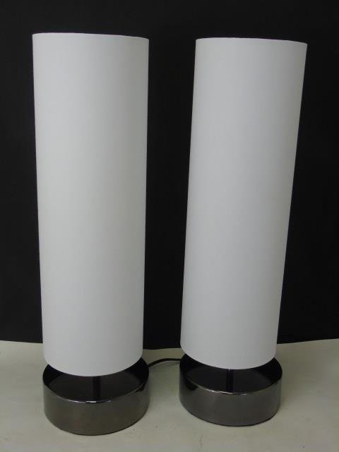 Pair Contemporary White Fabric & Chrome Lamps