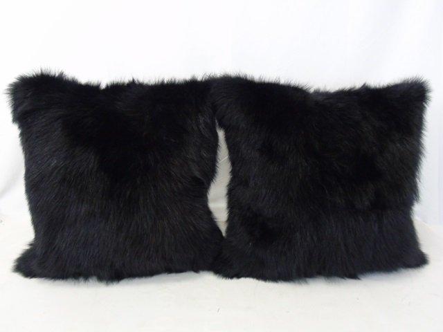 Pair Custom Contemporary Black Fur Throw Pillows