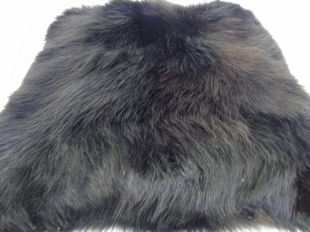 Pair Custom Contemporary Black Fur Throw Pillows - 2