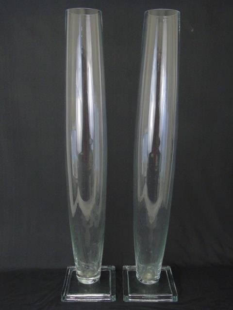 Pair Large Contemporary Modern Glass Vases - 3