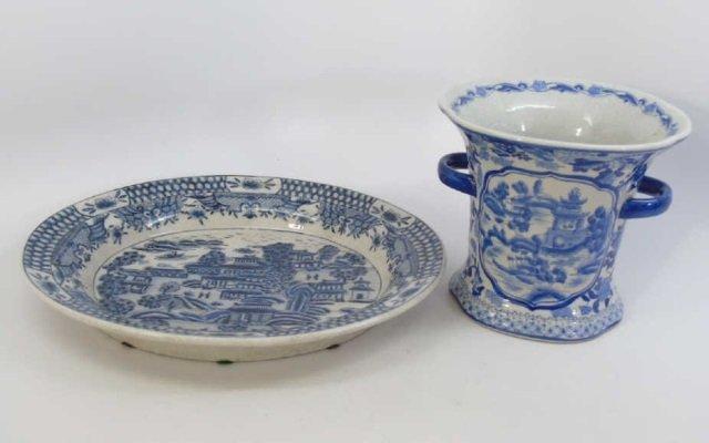 Chinese Blue & White Porcelain Vase & Platter