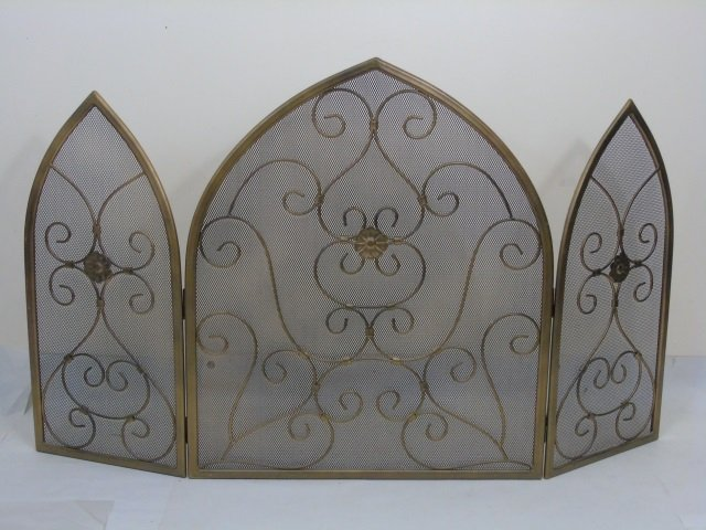 Contemporary Arch Top Scrollwork Fireplace Screen