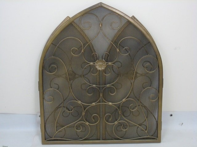 Contemporary Arch Top Scrollwork Fireplace Screen - 2