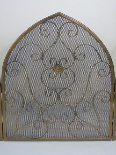 Contemporary Arch Top Scrollwork Fireplace Screen - 3