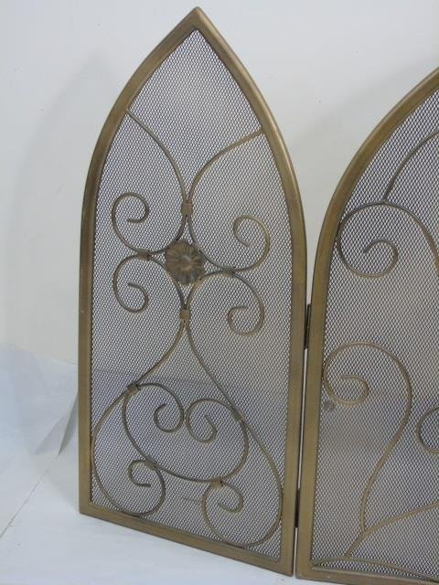 Contemporary Arch Top Scrollwork Fireplace Screen - 4