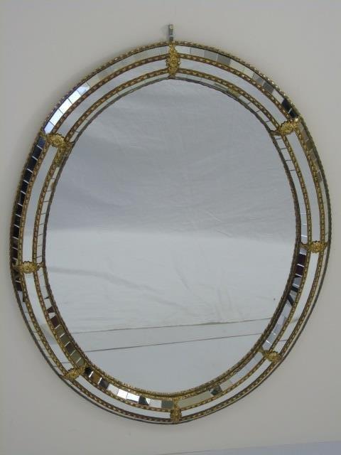 Contemporary Gilt Metal & Mosaic Oval Mirror