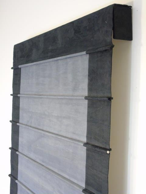 Custom Contemporary Modern Black Suede Curtain - 5
