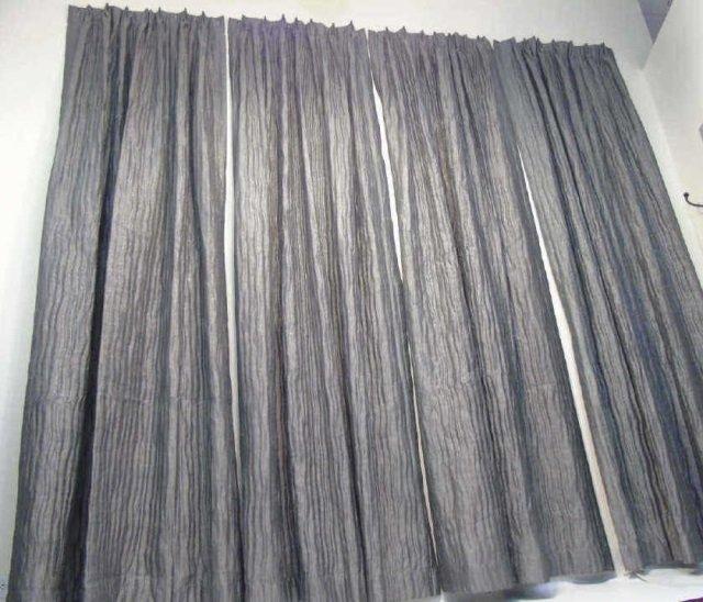 4 Custom Modern Grey & Silver Curtains from Kravet