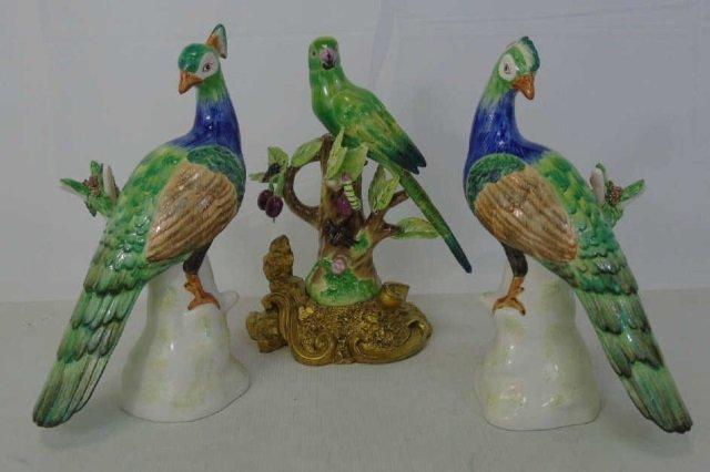 Three Chelsea House Italian Pottery Bird Statues