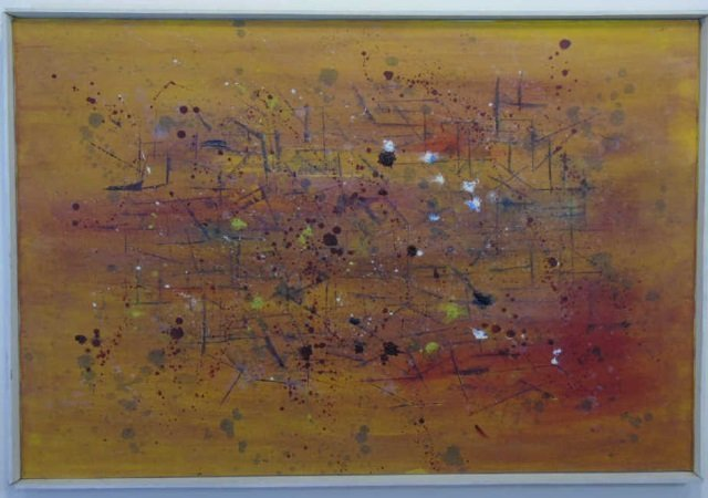 Mid Century Splatter Painting on Canvas Framed