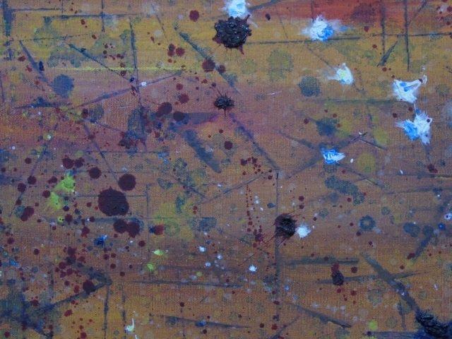 Mid Century Splatter Painting on Canvas Framed - 2