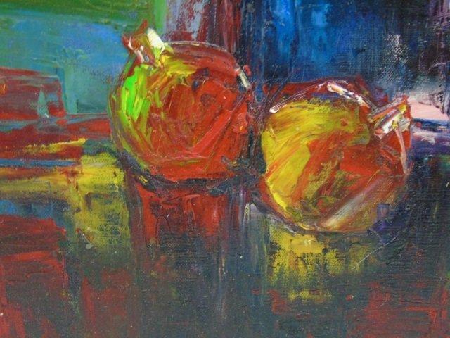 Painting Still Life Flowers &  Apples by C. Braun - 4