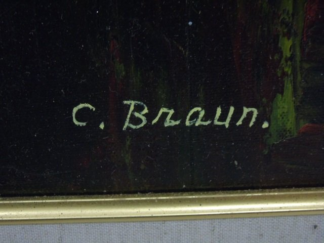 Painting Still Life Flowers &  Apples by C. Braun - 5