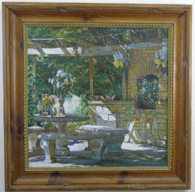 Oil Painting of a Shady Stone Table Set for Tea