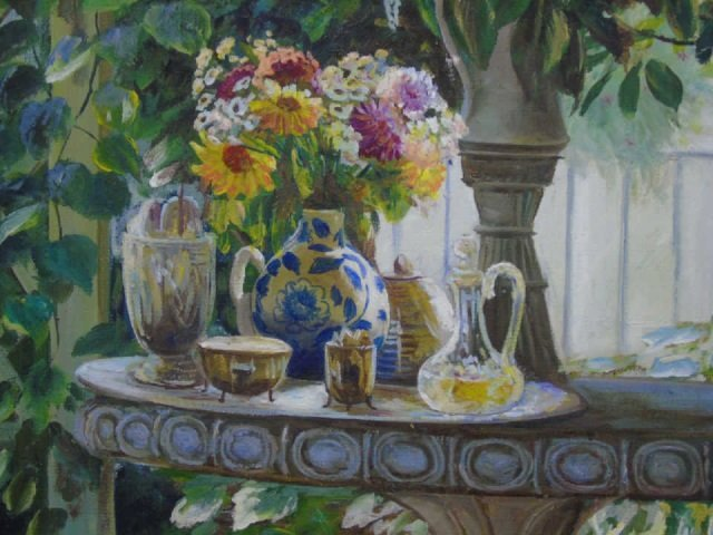 Oil Painting of a Shady Stone Table Set for Tea - 2