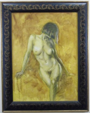Oil Painting of Sepia Nude on Yellow Background