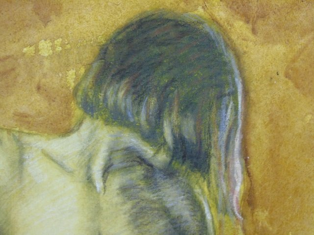 Oil Painting of Sepia Nude on Yellow Background - 2