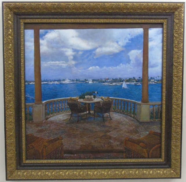 Oil Painting by Peter Ho of Terrace, Sky & Harbor