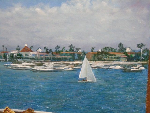 Oil Painting by Peter Ho of Terrace, Sky & Harbor - 2