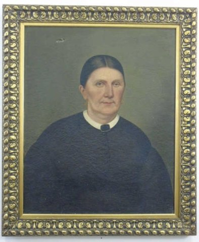 Oil Portrait of Victorian Woman in White Collar