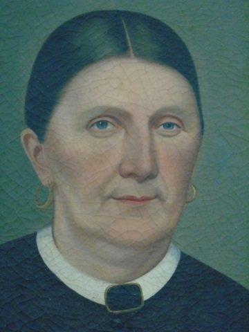 Oil Portrait of Victorian Woman in White Collar - 2