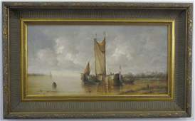Oil Painting 2 French Frigates in Harbor J Laurent