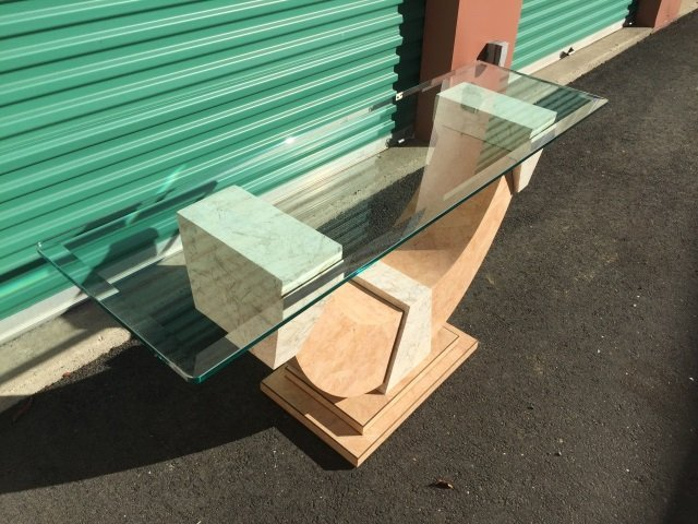 Contemporary Marble Veneer Glass Top Console Table - 5