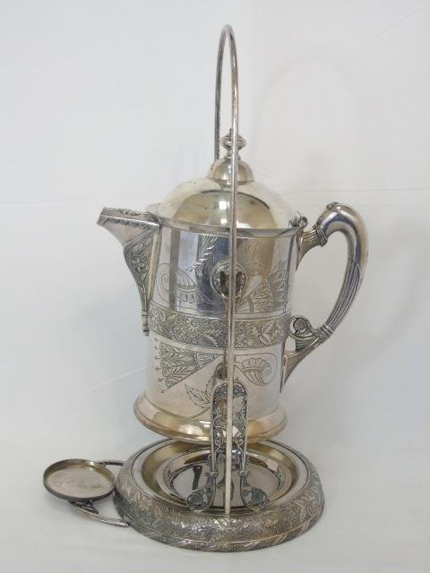 Antique Victorian Silver Plate Pitcher on Stand