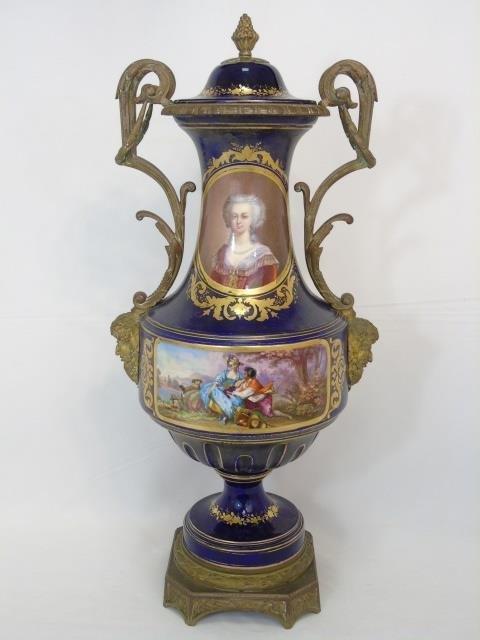 Antique Sevres French Porcelain & Ormolu Urn