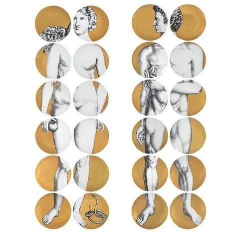 Piero Fornasetti - Set of 24 Adam & Eve Plates