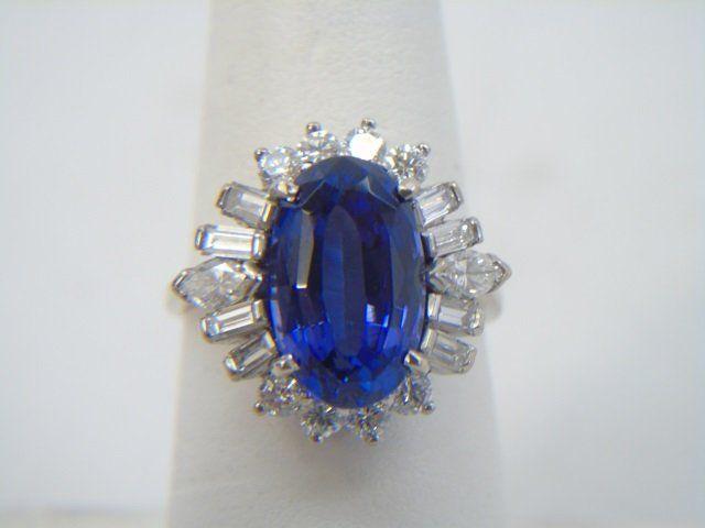 Estate 5.5 Carat Tanzanite & Diamond Cocktail Ring