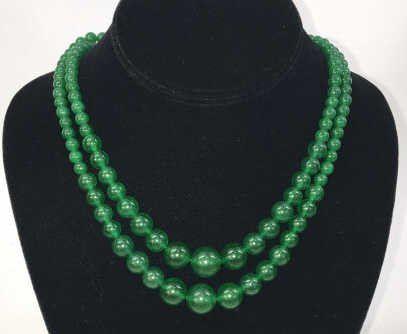 Pair Chinese Green Jade Necklaces & Stud Earrings