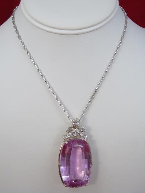 Estate 157 Carat Kunzite & 2 Carat Diamond Pendant