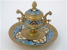 Antique Continental Champleve Gilt Metal Inkwell