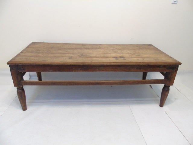 Rustic Country Pine Coffee Table w Metal Hardware