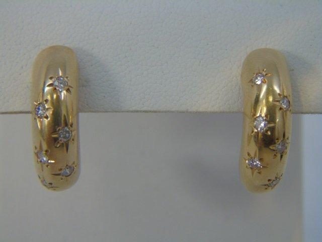 Estate Pair 14k Yellow Gold Diamond Hoop Earrings