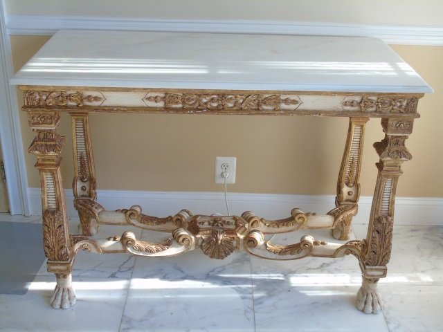 Antique Italian Baroque Style Marble Console Table
