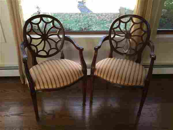 Pair Maitland Smith Spider Web Back Armchairs