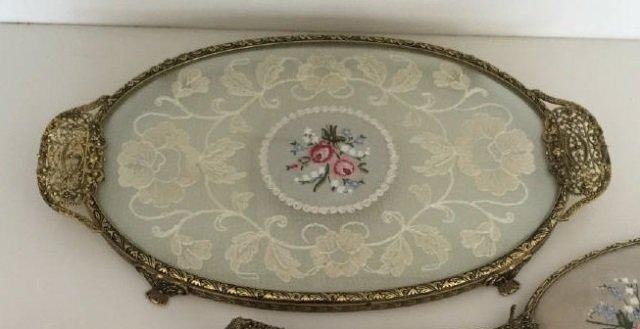 Four Piece Antique Vanity Set - Combs Mirror Tray