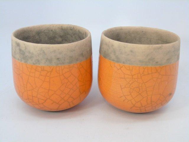 Pair Vintage French Glazed Pottery Planter Pots