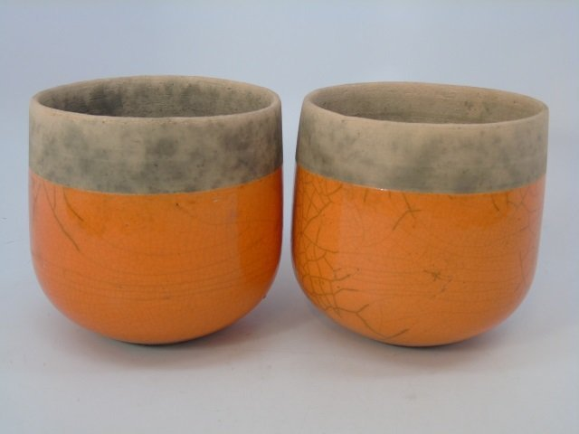 Pair Vintage French Glazed Pottery Planter Pots - 2