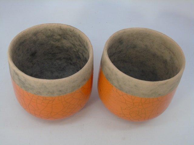 Pair Vintage French Glazed Pottery Planter Pots - 3